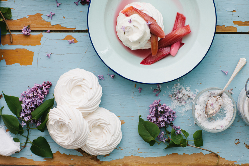 Store-bought meringues are an easy way to showcase cider-poached rhubarb and lilac whipped cream.