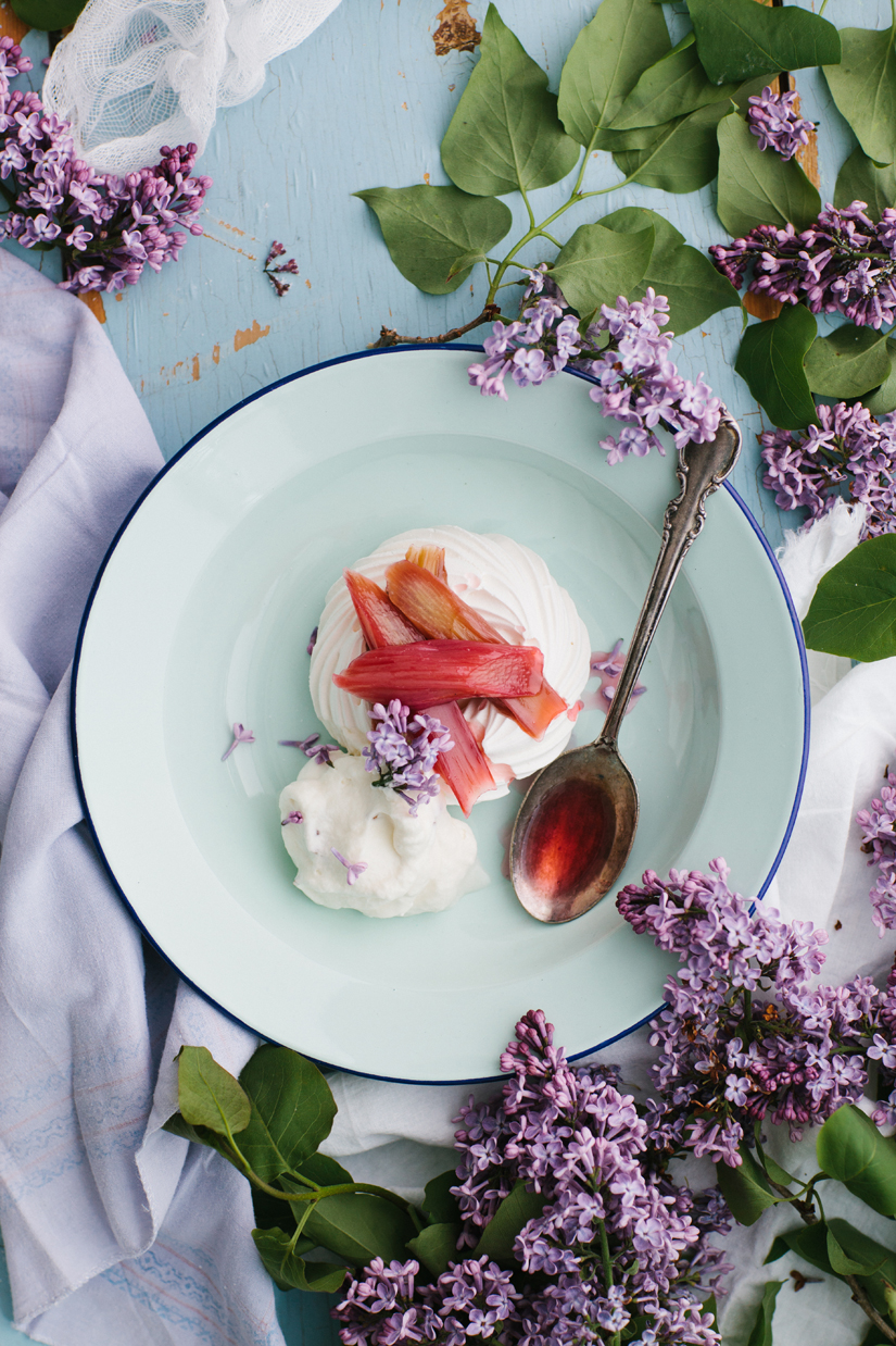 Cider-Poached Rhubarb Pavlova With Lilac Cream