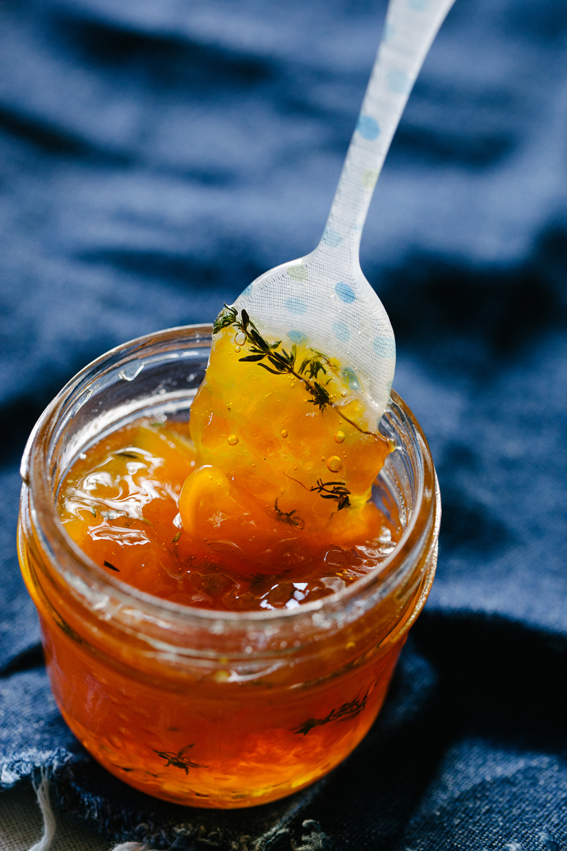 Small Batch Maple Peach Whisky Jam With Fresh Thyme