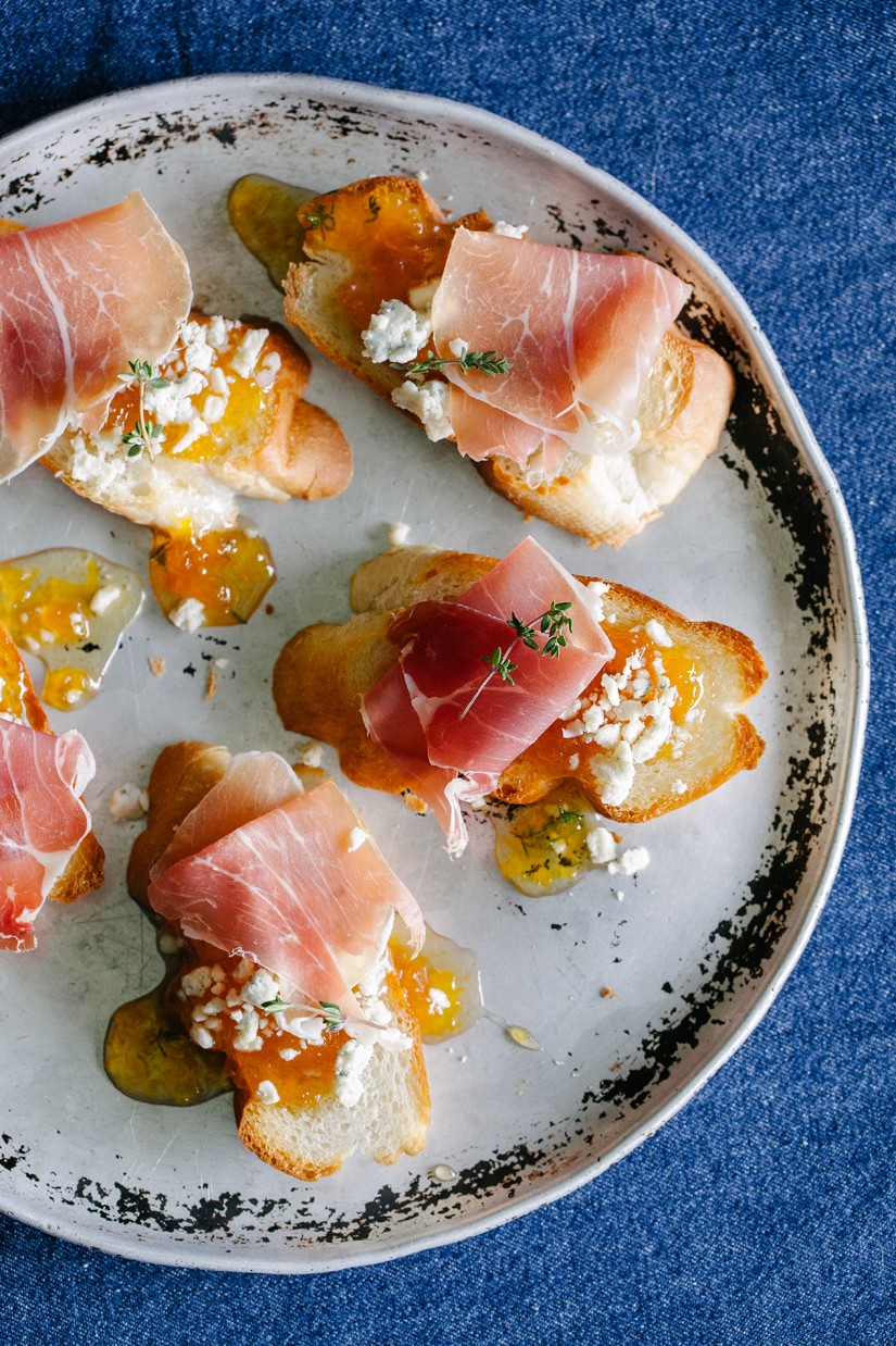 Maple Peach Whisky Jam On Crostini With Prosciutto And Blue Cheese