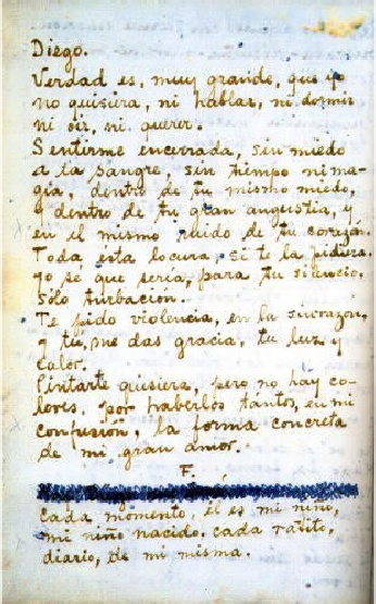 Frida's Letter to Diego, from The Diary of Frida Kahlo - An Intimate Self-Portrait