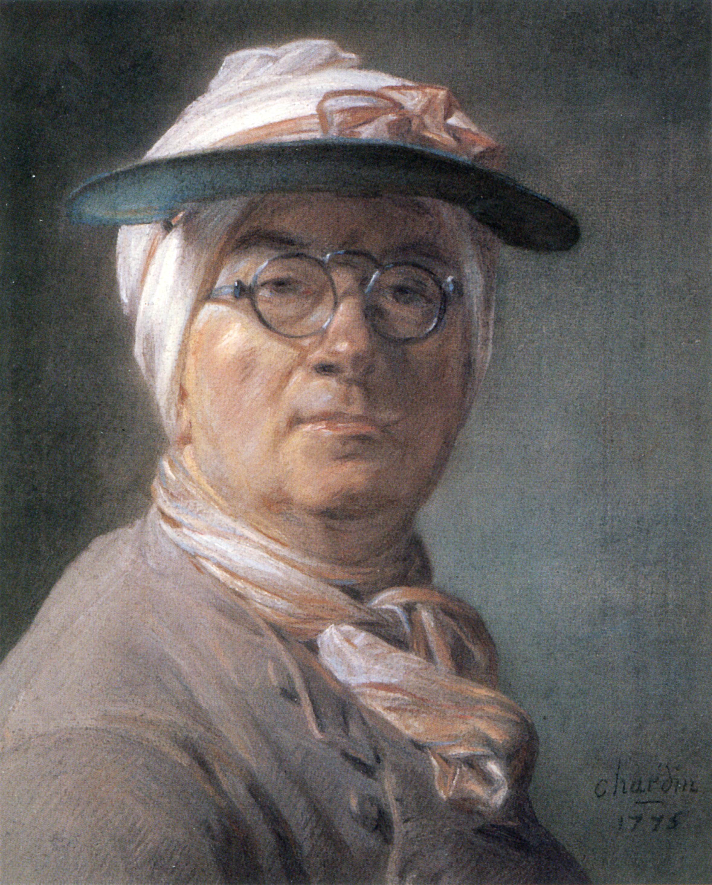 SELF-PORT RAIT WITH GLASSES -- JEAN BAPTISTE SIMÉON CHARDIN, 1775