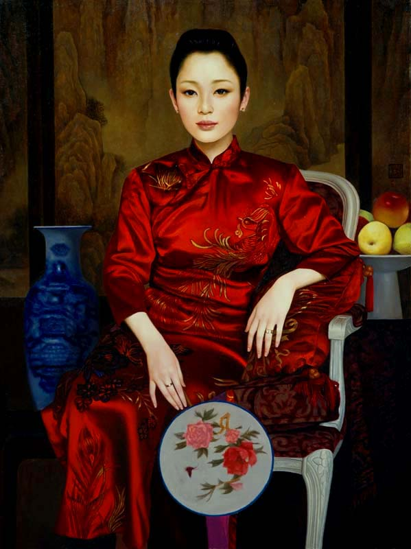 XUE YANQUN  -  'The Actress',   80.5x61cm, Oil On Canvas
