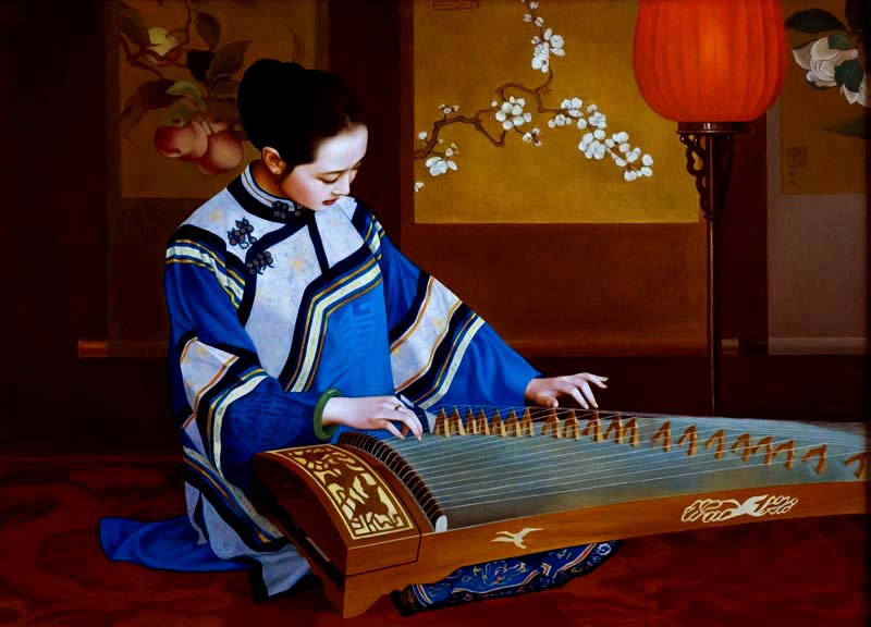 "XUE YANQUN  -  ""The Music"",   100 x 72.5cm, Oil on Canvas"
