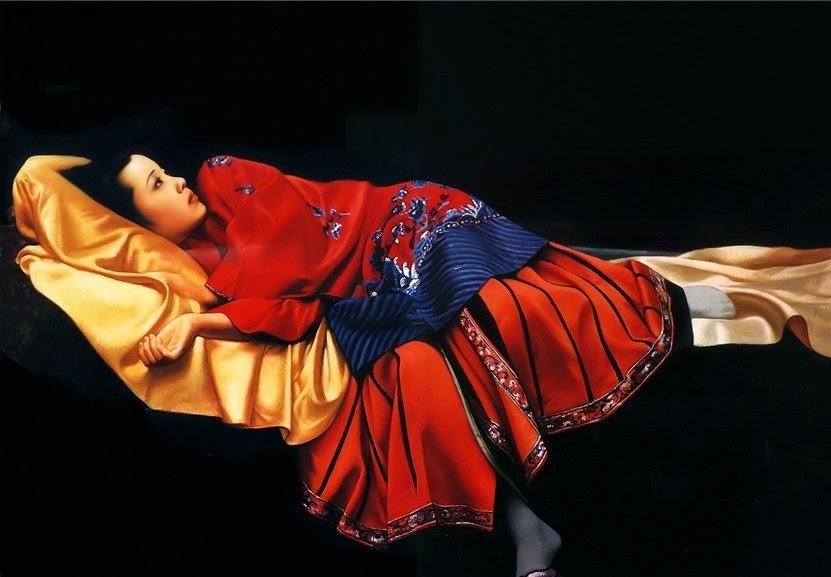 JIANG GUOFANG,   'Waiting in Silence' ,  oil on canvas, 1997