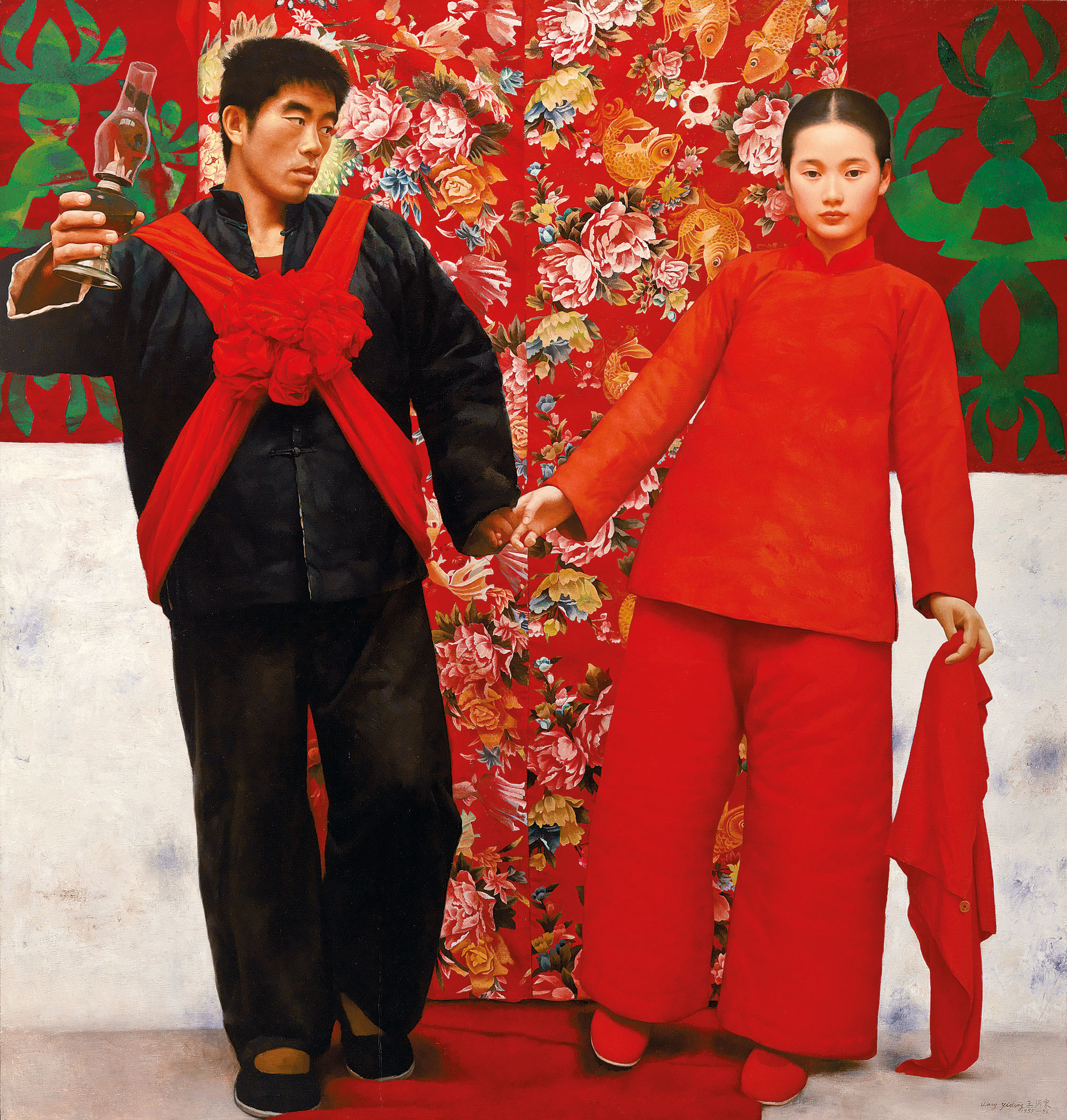 WANG YIDONG, 'A Married Woman in the Mountains' ,  oil on canvas, 190 x 180 cm. - Painted in 1995-1996