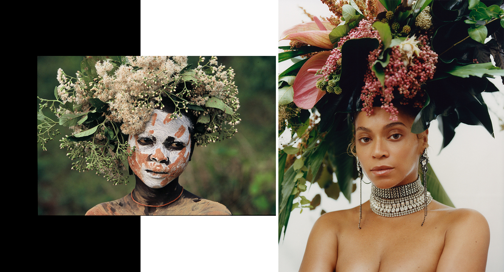 Left: 'Natural Fashion n.173', 2006-2007 by ©HANS SILVESTER — Right: Beyoncé photographed by TYLER MITCHELL, VOGUE, September 2018