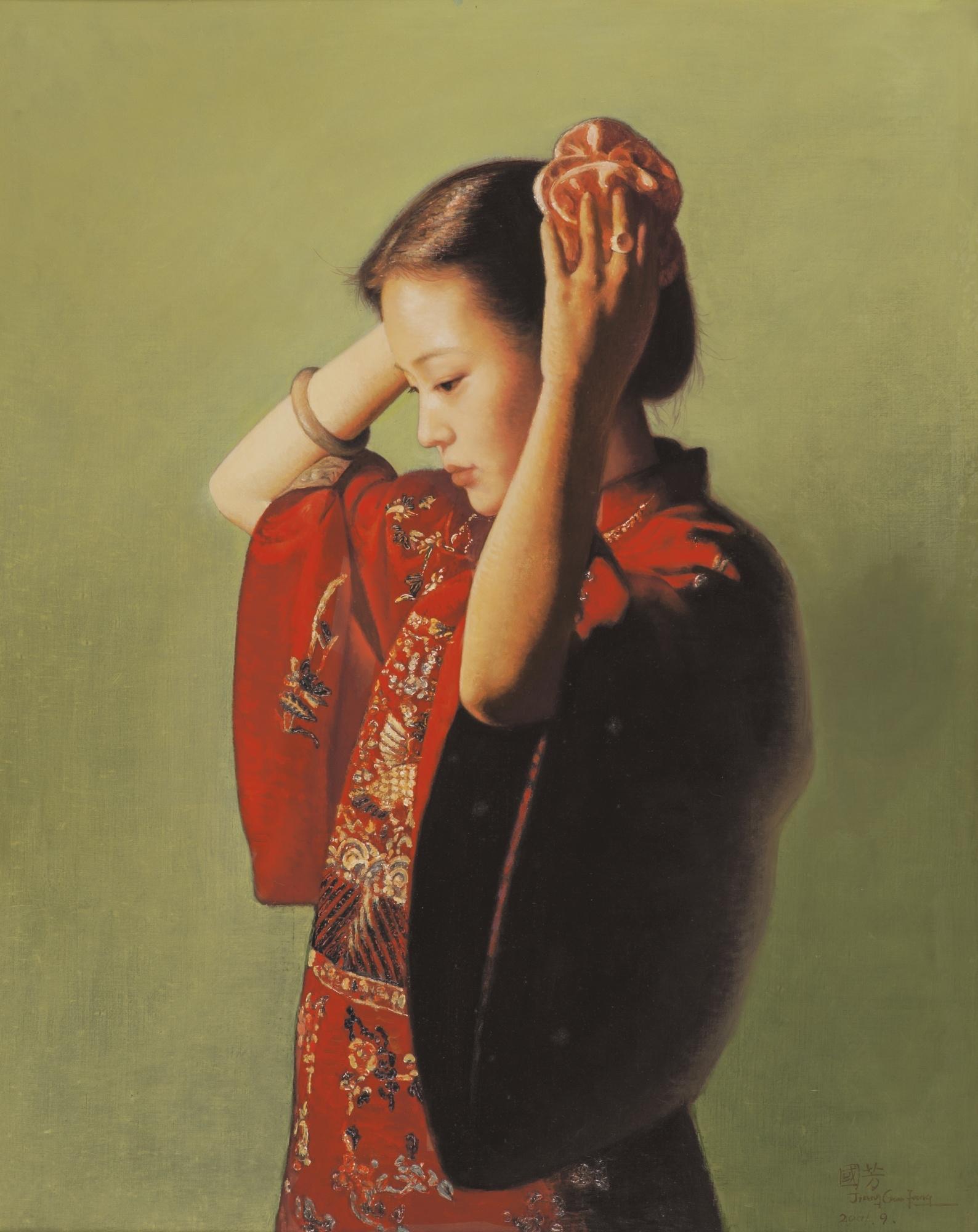 JIANG GUOFANG, 'Dressing Up' ,  oil on canvas, 2001