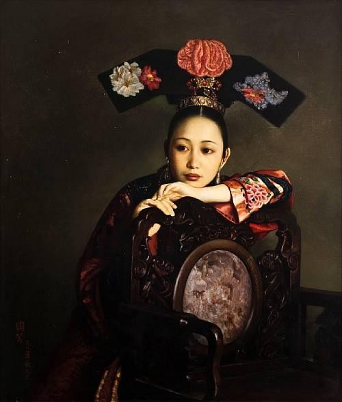 JIANG GUOFANG, 'Qing Court Lady',   oil on canvas, 1994