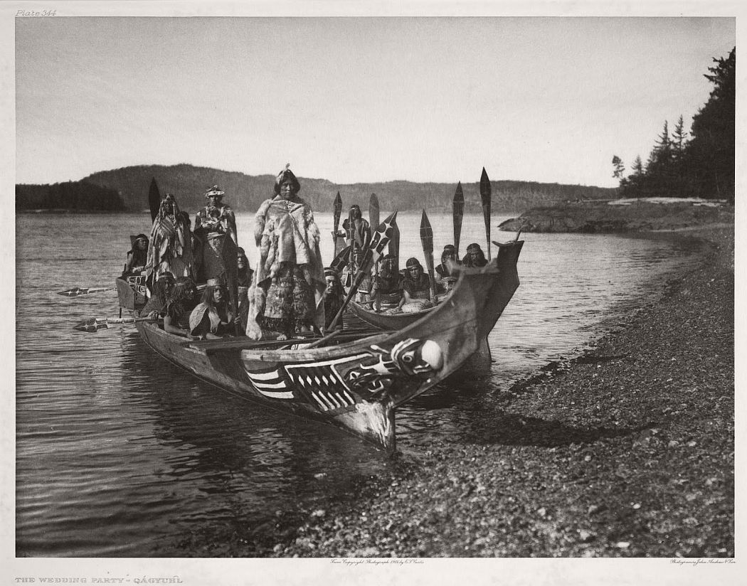 A Kwakiutl wedding party arrives in canoes,  1914.  ©EDWARD S. CURTIS/GETTY IMAGES