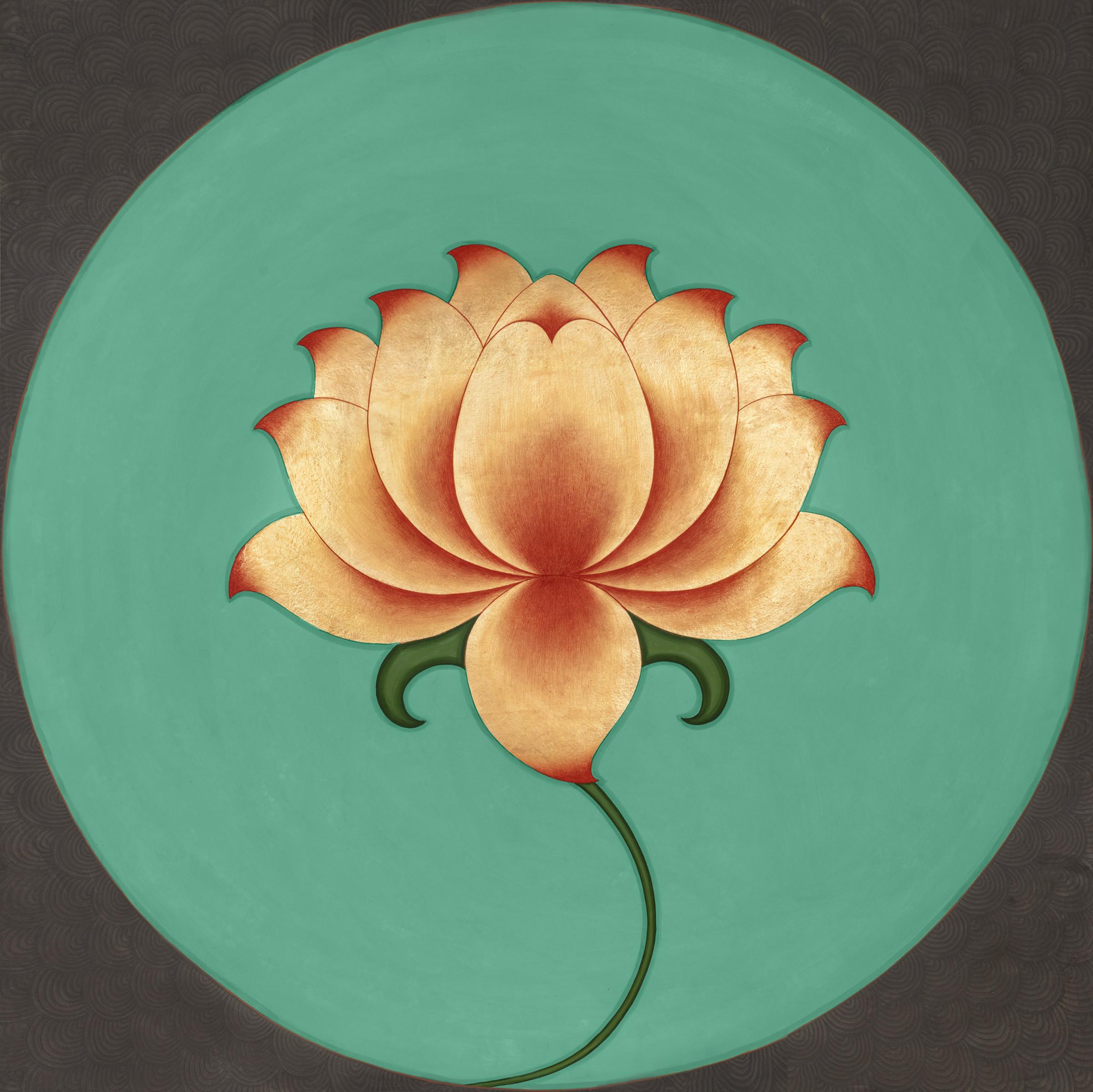OLIVIA FRASER, 'Golden Lotus' ,  Stone pigment, gold leaf and Arabic gum on handmade sanganer pape r,  2008