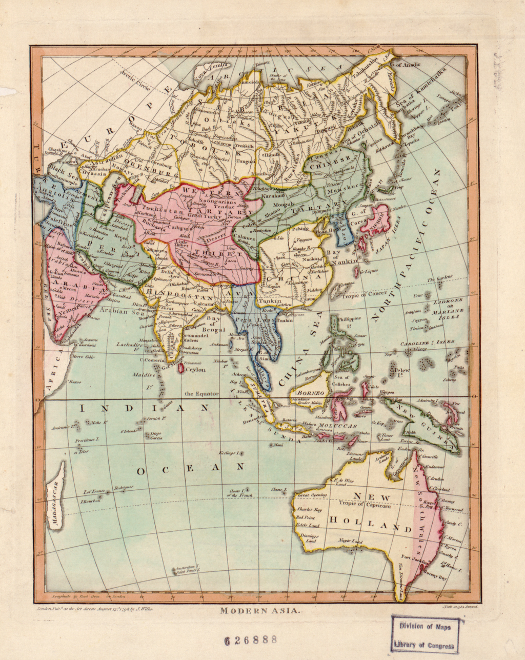 """John Wilkes was a London publisher best known for his Encyclopaedia Londinensis; or, universal dictionary of arts, sciences, and literature (1801-28). Wilkes frequently worked with Samuel John Neele, the engraver of this hand-colored map of """"modern Asia."""" The map reflects late 18th-century European geographic conceptions and terminology. India is referred to as """"Hindoostan,"""" while much of the interior is shown as comprised of """"Western Tartary"""" and """"Chinese Tartary."""" """"Tartary"""" was a designation applied by Europeans to those parts of Asia inhabited by nomadic Turkic and Mongol peoples. This map shows Tartary as stretching from the Caspian Sea to the Pacific Ocean."""