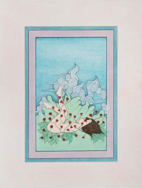 HIBA SCHAHNAZ  ,  'Self Portrait With Roses',  Tea, gouache and watercolour on wasli, 2014.