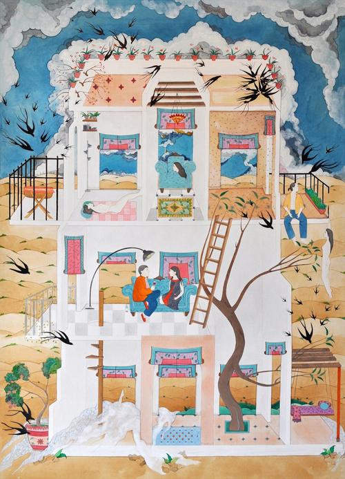 HIBA SCHAHNAZ  ,  'The Sleepover',  Tea, collage, pigment, gouache and watercolour on wasli, 2012.