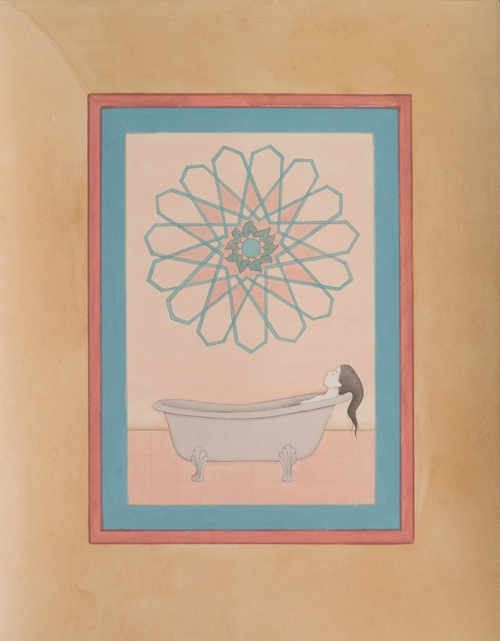 HIBA SCHAHNAZ  ,  'The Bath',  Gouache, tea, and watercolour on wasli, 2014.