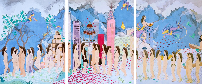 HIBA SCHAHNAZ  ,  'My Selves',  (3) Collage, gouache, tea, gold leaf and watercolour on wasli, 2012.