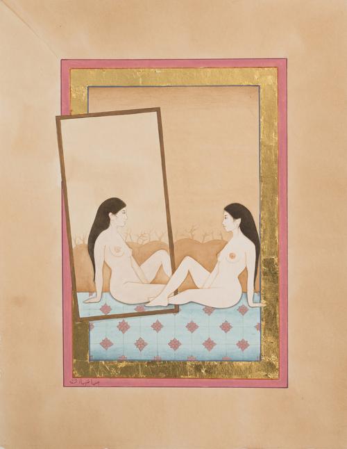 HIBA SCHAHNAZ  ,  'Self-Reflection',  Gouache, tea, watercolour and gold leaf on wasli, 2015.