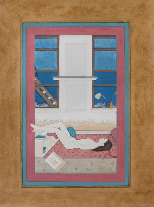HIBA SCHAHNAZ  ,  'The Artist's Studio',  Gouache, tea, and watercolour on wasli, 2012.