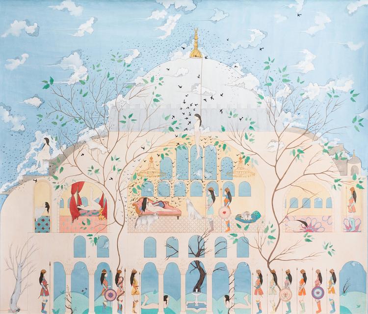 HIBA SCHAHNAZ  ,  'The Guard',  Collage, gouache, tea, watercolour and gold leaf on wasli, 2014.