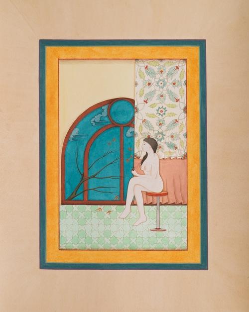 HIBA SCHAHNAZ  ,  'Room With A View',  Tea, gouache and watercolour on wasli, 2013.