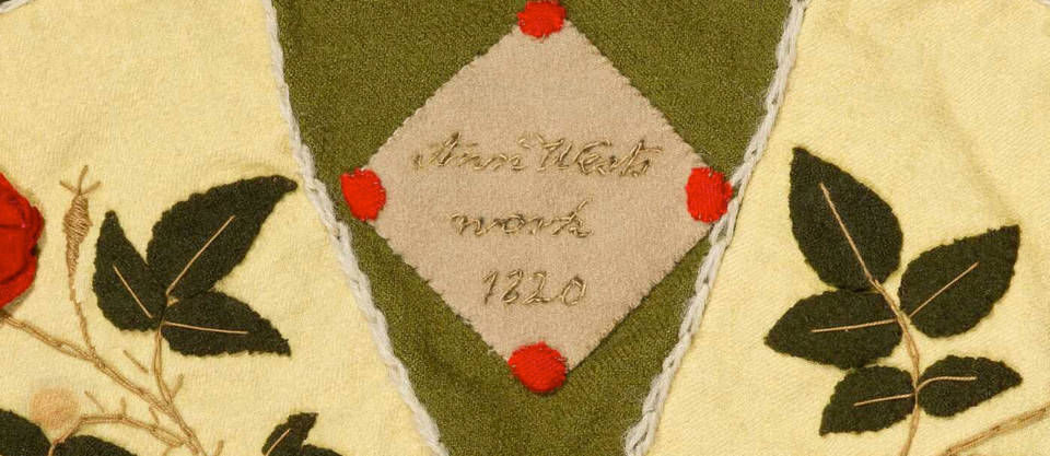 Ann West's signature from the patchwork hanging (detail), 1820, England. Museum no. T.23-2007. ©Victoria and Albert Museum, London