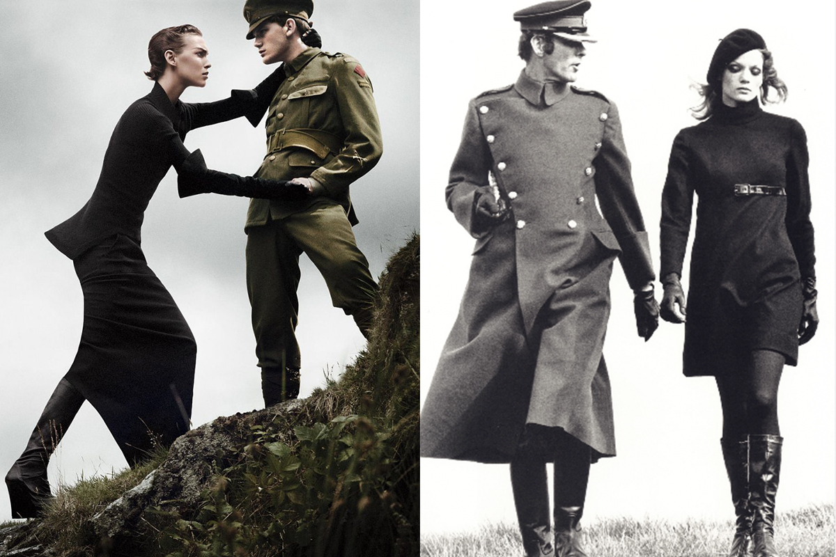 Left: ARIZONA MUSE for VOGUE US, photographed by DAVID SIMS © Condé Nast Publications  Right: VOGUE UK editorial, photographed by HELMUT NEWTON, 1967 ©Helmut Newton Foundation