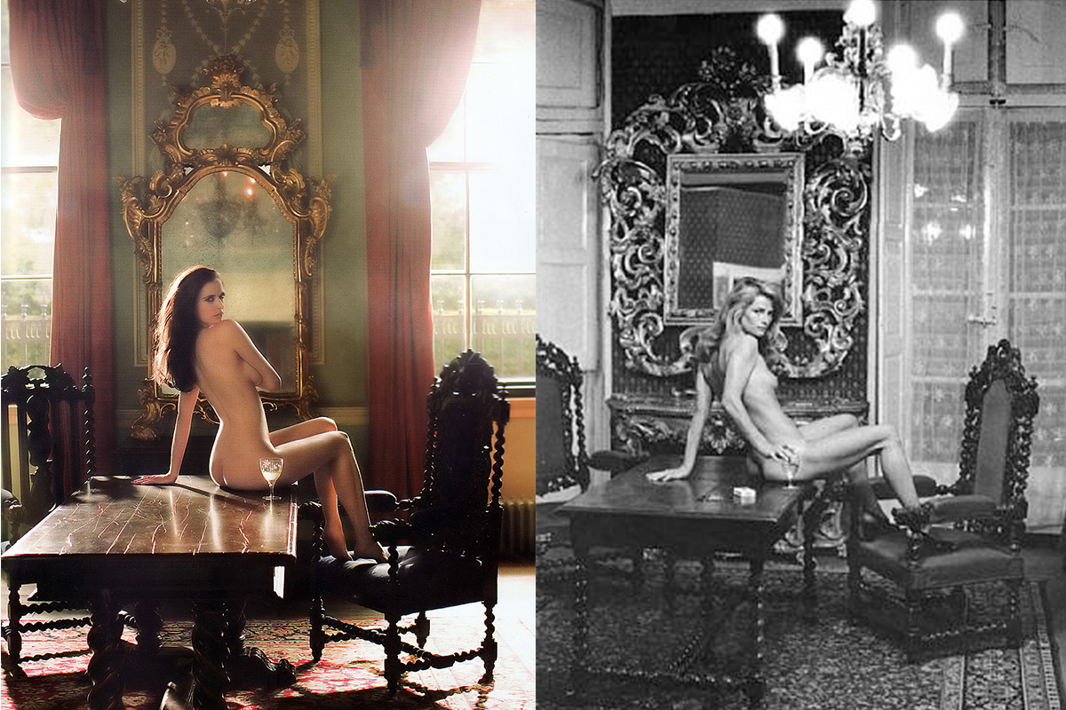 Left: EVA GREEN for TATLER Magazine, photographed by RICARDO TINELLI, December 2009  Right: CHARLOTTE RAMPLING photographed by HELMUT NEWTON ©Helmut Newton Foundation