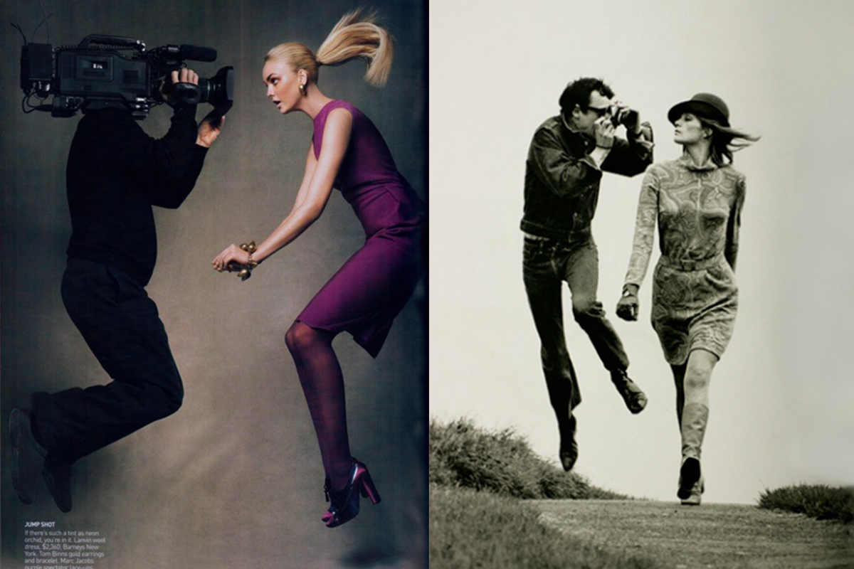 Left: CAROLINE TRENTINI for VOGUE US September 2007 in 'Brights!, Camera!, Action!' editorial, photographed by PATRICK DEMARCHELIER ©Condé Nast Publications  Right: ©Helmut Newton Foundation