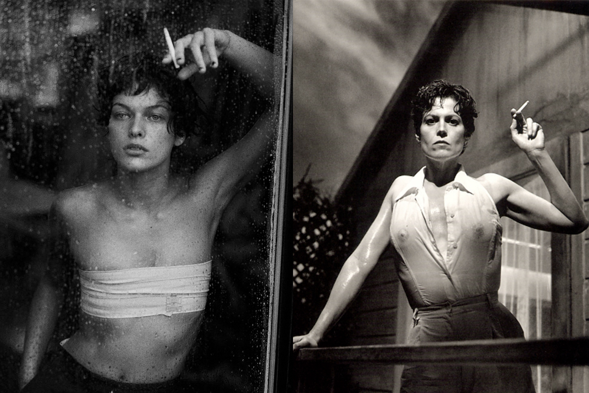 Left: MILLA JOVOVICH for VOGUE ITALIA, photographed by PETER LINDBERGH, 1996 © Peter Lindbergh  Right: SIGOURNEY WEAVER photographed by HELMUT NEWTON ©Helmut Newton Foundation