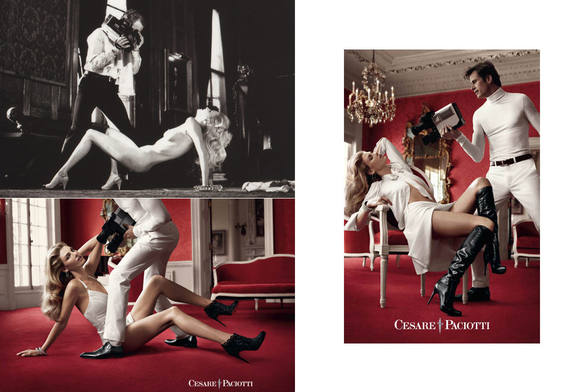 Top Left: ©Helmut Newton Foundation  Other photos: ANGELA LINDHALL for CESATE PACIOTTI Fall 2011 Campaign, photographed by Sebastian Faena ©Cesare Paciotti