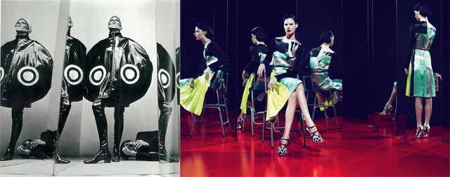 Left: ©Helmut Newton Foundation  Bottom: MIU MIU SS 2011 Advertising Campaign photographed by MERT & MARCUS © Miu Miu