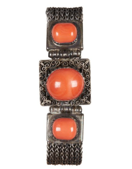 A Mongolian Coral Inlaid Silver Bracelet from the Qing Dynasty   ©Museum of Ethnic Costumes, Beijing Institute of Fashion Technology