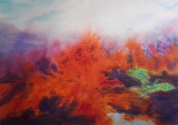 Corals in the Sea by ARGENTINA GONZÁLEZ TAMAMES, 2018, Abstract representation, Watercolour  From the collection of  ©Asociación Española de Pintores y Escultores , Madrid