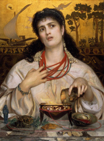 "Medea by FREDERICK SANDYS, c. 1866/1868  From the collection of Birmingham Museum and Art Gallery  ©Birmingham Museums Trust    ""In Greek mythology Medea, the beautiful sorceress and daughter of the King of Colchis, fell in love with Jason who came in search of the Golden Fleece. In return for her help to steal it, Jason married her and they had two children, Mermerus and Pheres. After the birth of their children Jason divorces her to marry the Greek princess Glauce. In the background of the painting, the boat of her husband Jason is shown sailing away. Heartbroken and enraged, Medea took revenge by killing Glauce and killing her two children in front of him.    Here in the picture she is shown casting a spell to kill Glauce with a dress which burst into flames. She is also pulling off her necklace  made of coral , the stone thought to protect children from evil, as hatred overcomes her maternal instinct. The two copulating toads in the front left of the picture could symbolise her husband's infidelity.    The picture caused much heated debate when it was rejected from the Royal Academy exhibition in 1968, despite being hailed as a masterpiece by many critics."" via Google Arts & Culture"