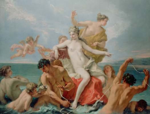 "Triumph of the Marine Venus by SEBASTIANO RICCI, c. 1713.  From the collection of The J. Paul Getty Museum,  © The J. Paul Getty Museum    ""Born from the sea, the mythological goddess Venus sits upon a throne pulled by muscular men and surrounded by her entourage. Her son Cupid flies nearby and grasps a handful of coral from a plate held by an attendant. Perched above Venus, a woman holds a string of pearls, a typical adornment of the goddess. The pearls fall through her hair and down along her shoulder. The composition is arranged in a loose pyramidal shape with Venus at the apex. Sebastiano Ricci used an array of flesh tones to describe and model the playful, graceful figures, from the reddish-brown tanned skin of the athletic men to the light brownish-peach skin of the cherub blowing a conch shell in the lower right-hand corner and the even lighter flesh of the women. Venus's softly painted skin is a creamy white with touches of pink in her cheeks, chest, stomach, and knees; her flesh glows as if lit from within. Against the blue sky, streaks of pink paint describe wispy clouds and fading sunlight. With the Triumph of the Marine Venus, Ricci made a transition from a more classical Baroque style of dramatic gestures, bold colours, and serious subject matter to a more Rococo style of light, pastel colours, elegant, graceful figures, and decorative compositional elements."" via Google Arts & Culture"