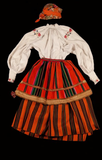 Folk costume from the Opoczno region, in Poland, Unknown artist.  From the collection of  ©The Polish Museum in Rapperswil