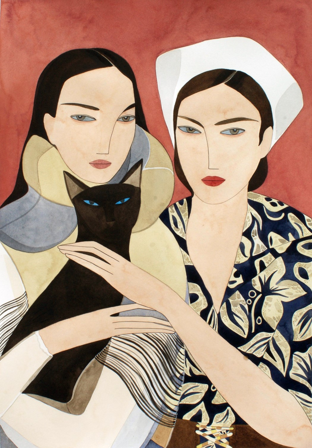 sisters and siamese cat, JW ANDERSON and PRADA for Marie Claire     © Kelly Beeman