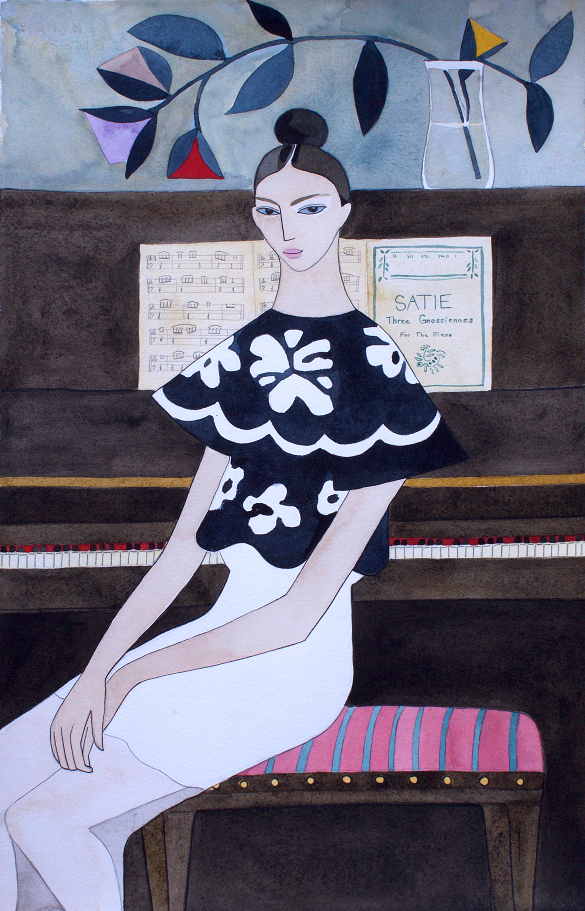 DIOR SS16 Watercolours — Girl at the Piano    (playing Satie),14 x 23 inches   © Kelly Beeman