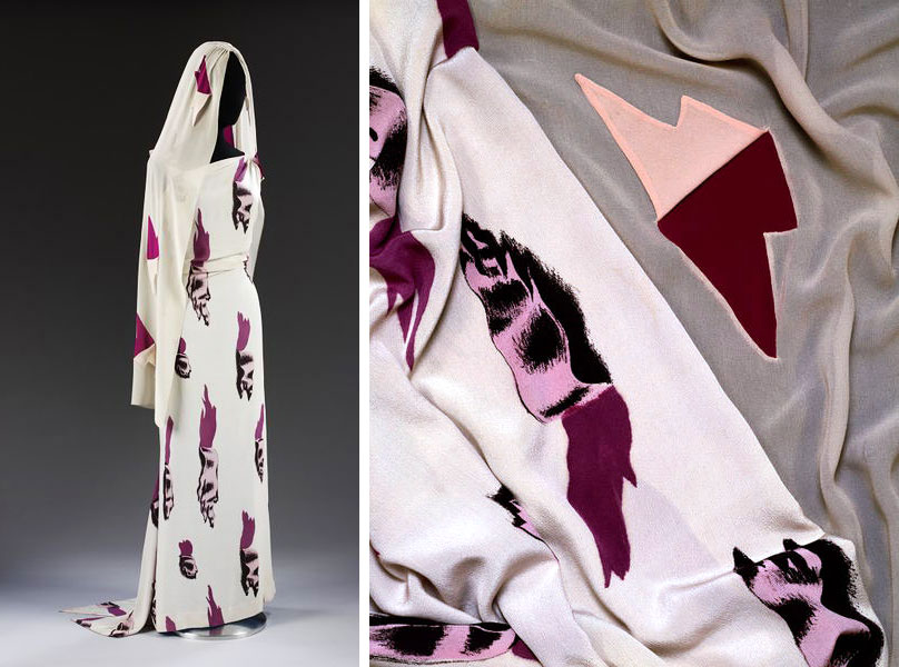 The infamous 'Tear dress', for which Salvador Dali created the print. The dress is from the Schiaparelli 'Circus Collection in 1938.  © Victoria and Albert Museum