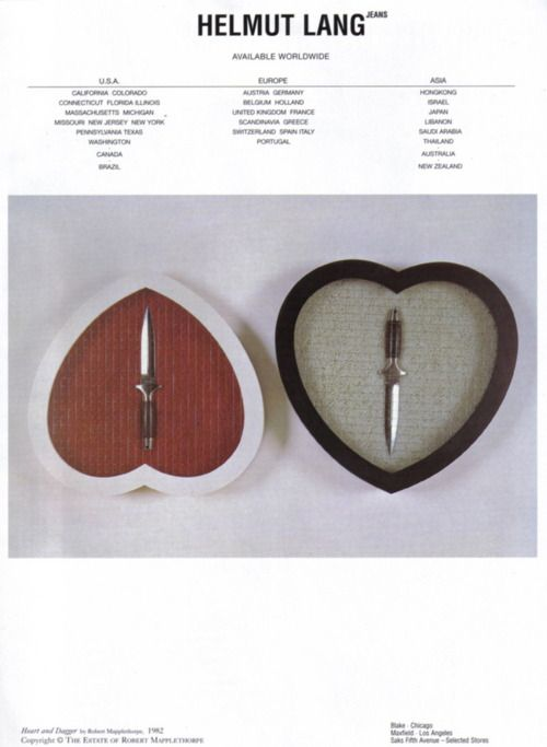 Heart and Dagger by Robert Mapplethorpe, 1982 in HELMUT LANG ad for SS97  © HELMUT LANG & ROBERT MAPPLETHOPRE ESTATE