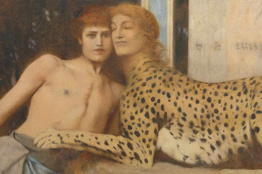 Sir Lawrence Alma-Tadema influence the Belgian artist FERNARD KHNOPF, among many others. Artwork: FERNARD KHNOPF,   Caresses  (detail; 1896), Royal Museums of Fine Arts of Belgium, Brussels. Photo: J. Geleyns Art Photography  via Apollo Magazine
