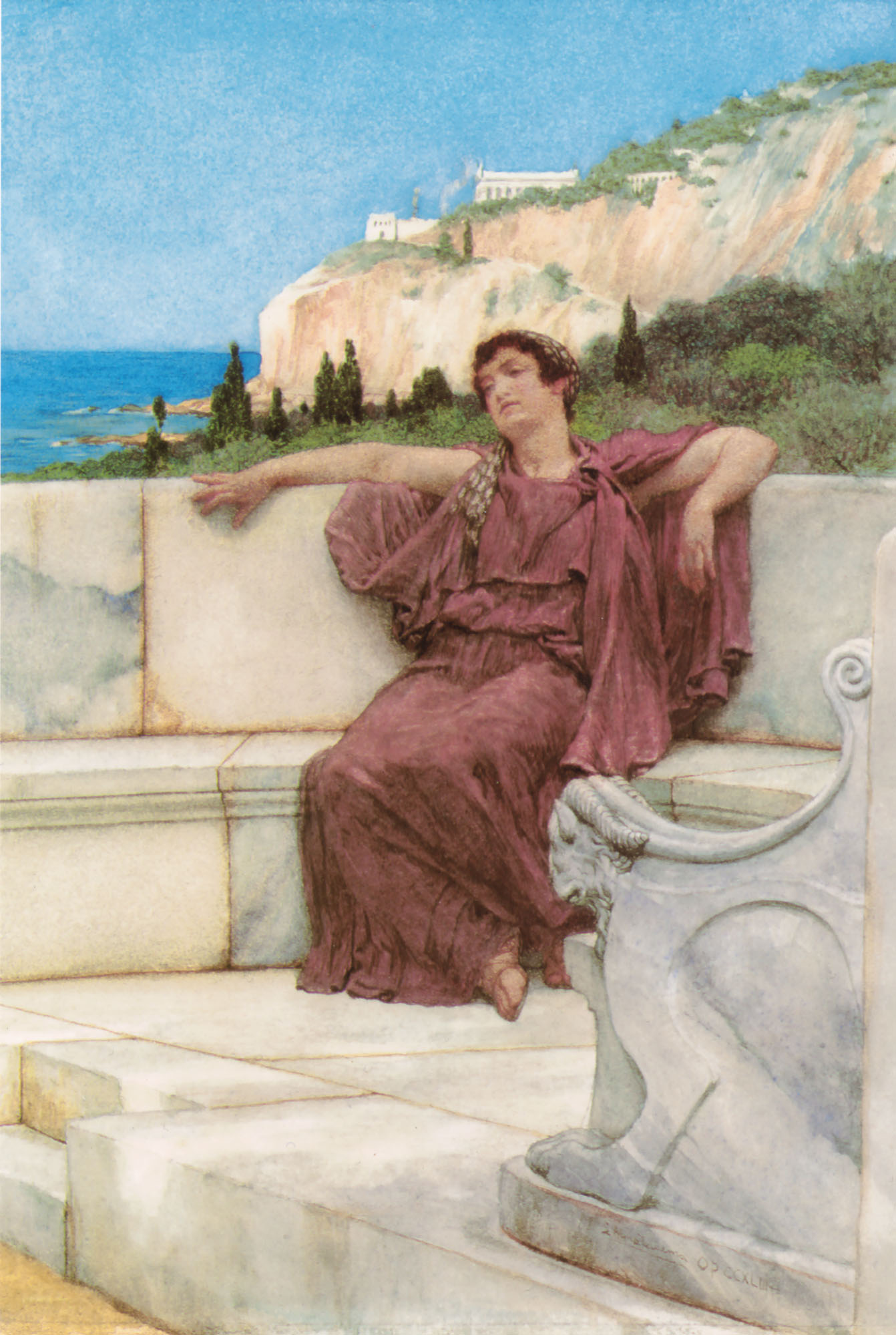 SIR LAWRENCE ALMA TADEMA — A Female Figure Resting Dolce Far Niente, 1882.