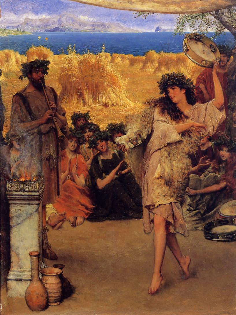 SIR LAWRENCE ALMA TADEMA — A Harvest Festival, A Dancing Bacchante at Harvest Time, 1880.