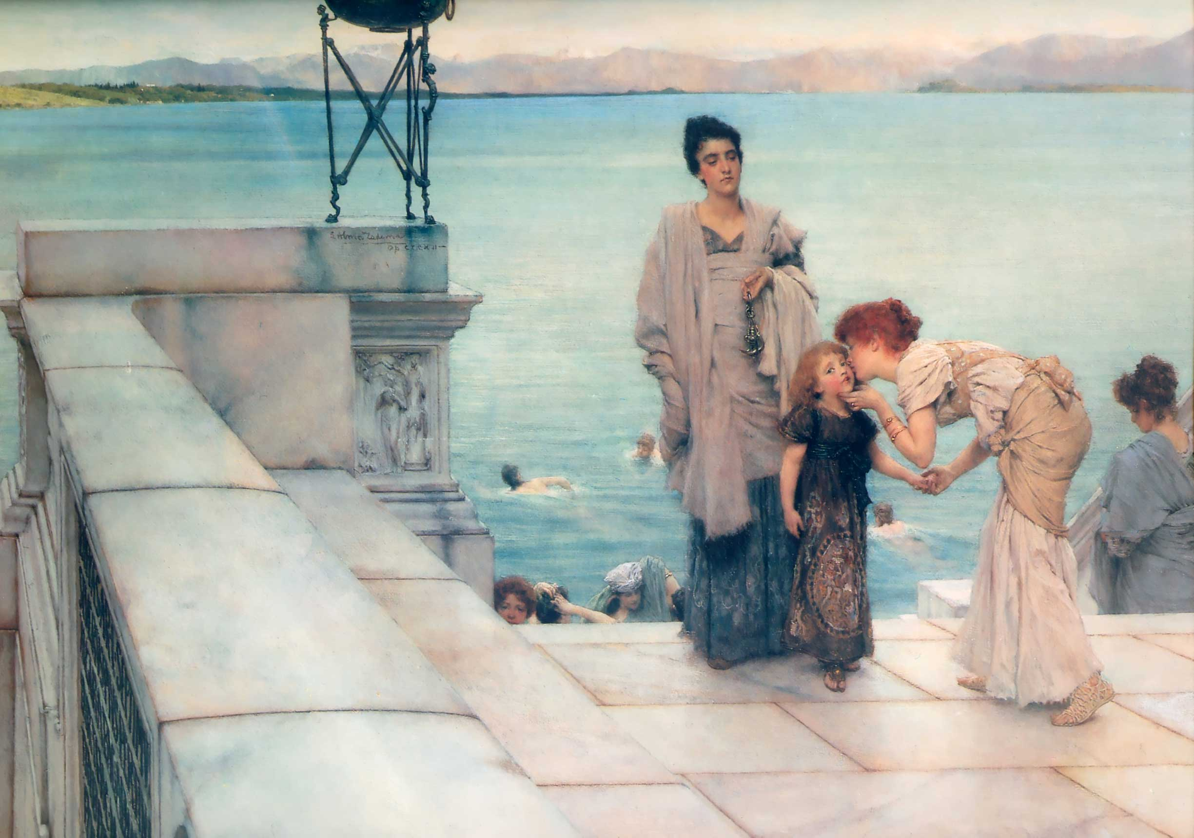 SIR LAWRENCE ALMA TADEMA — A Kiss, 1891.
