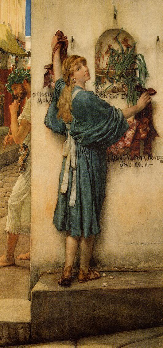 SIR LAWRENCE ALMA TADEMA — A Street Altar, 1883.