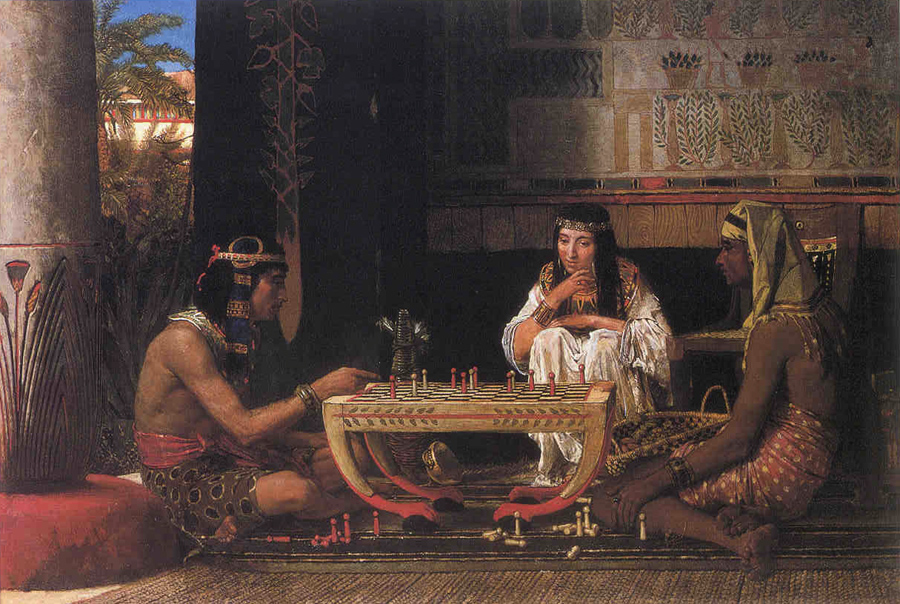 SIR LAWRENCE ALMA TADEMA — Egyptian Chess Players, 1865.