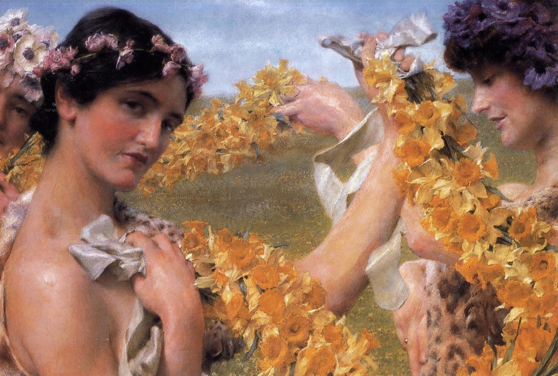 SIR LAWRENCE ALMA TADEMA — When Flowers Return , 1911.