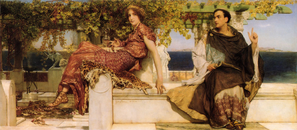 SIR LAWRENCE ALMA TADEMA — The Conversation of Paula by Saint Jerome, 1898.