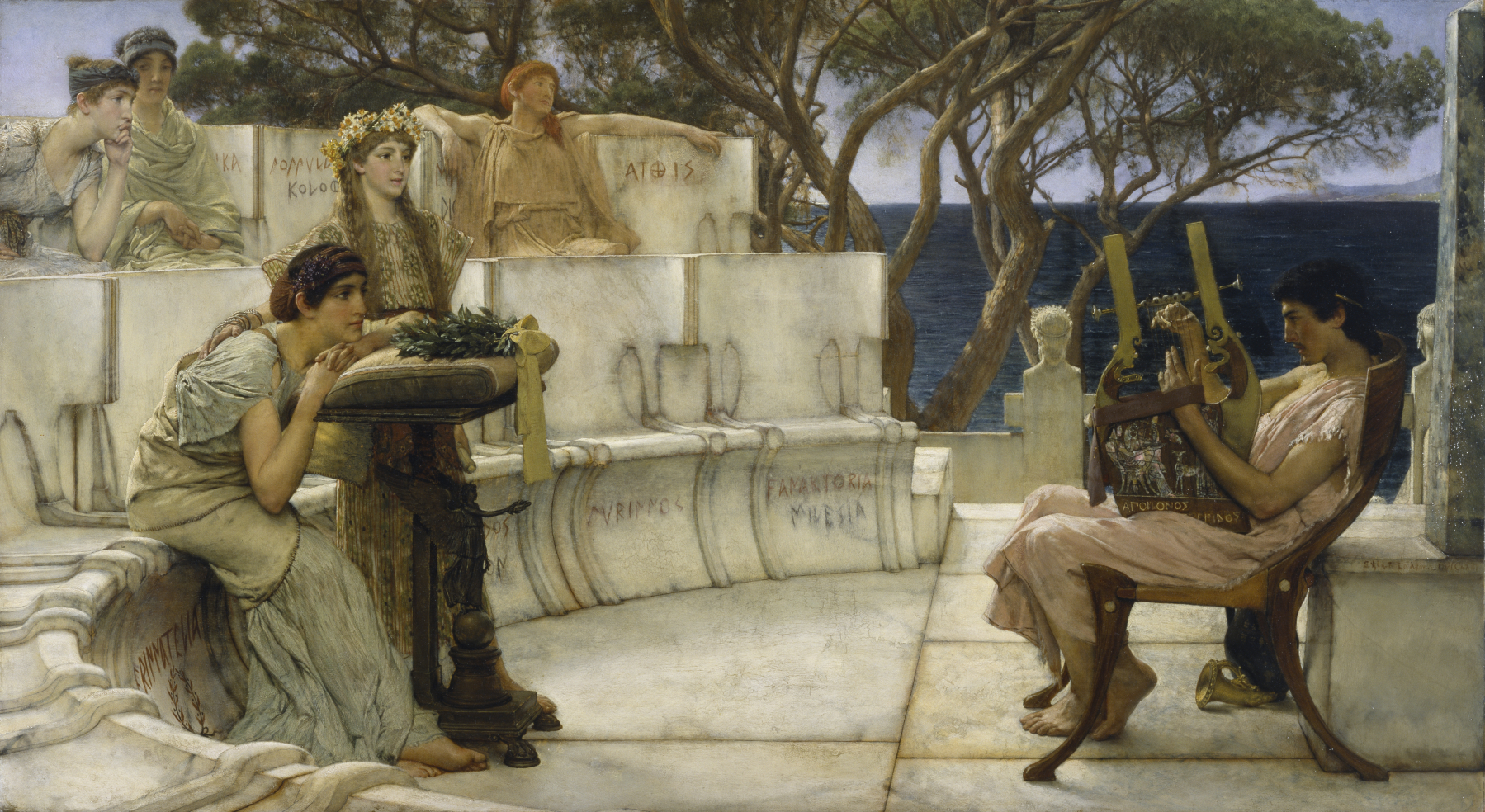 SIR LAWRENCE ALMA TADEMA — Sappho and Alcaeus, 1881.