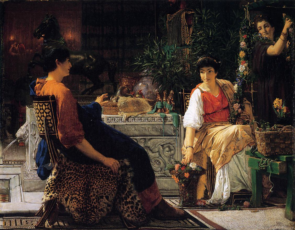 SIR LAWRENCE ALMA TADEMA — Preparations for the Festivities, 1866.